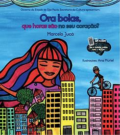 Uma mulher ao fundo de uma cidade com prédios e um rapaz de bicicleta