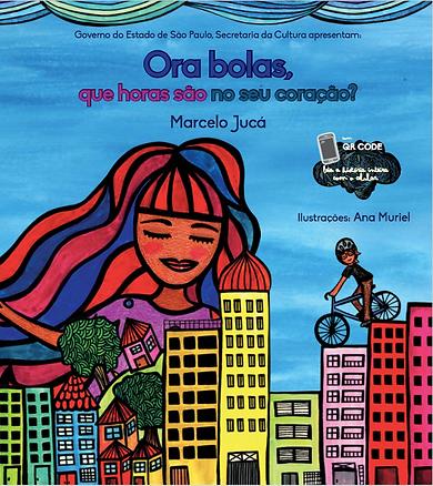 O rosto da personagem atrás de prédios e um rapaz de bicicleta em meio a edifícios