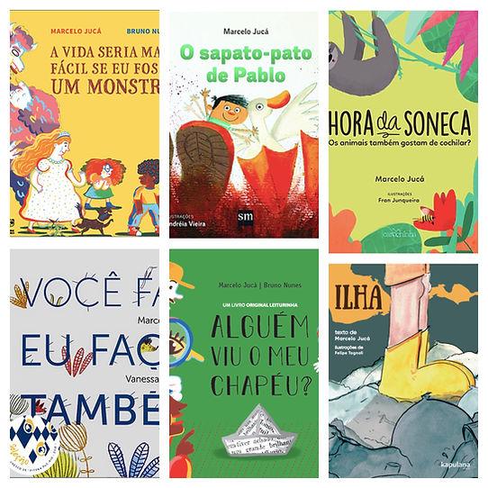 Colagem de algumas capas dos livros