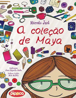 Capa, menina óculos verde rodeada por objetos de coleção, como canetas, canecas e sorvetes