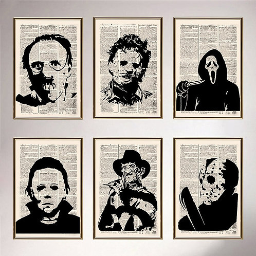 Retro Vintage Old Newspapers Horror Movie Character Posters