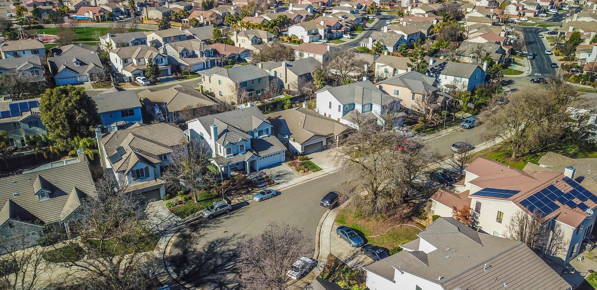 Aerial of house in Elk Grove.
