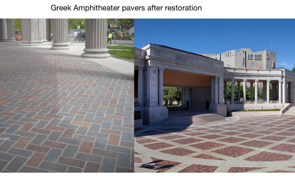 Greek Amphitheater pavers in Civic Center Park