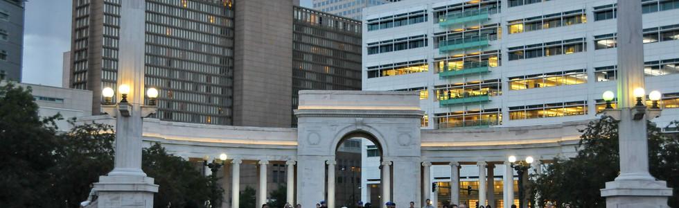 Voorhies memorial in Civic Center Park