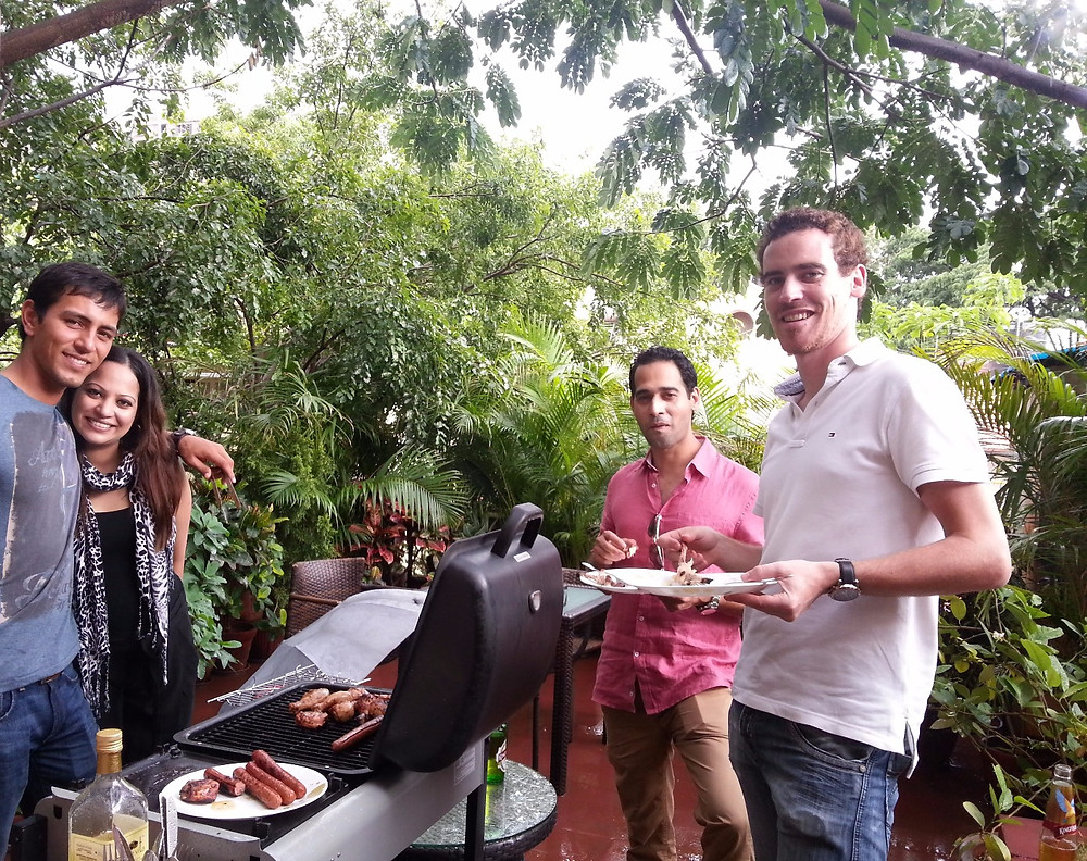 Barbecue on rain soaked terrace. The Best Homestay & Coliving experiences.