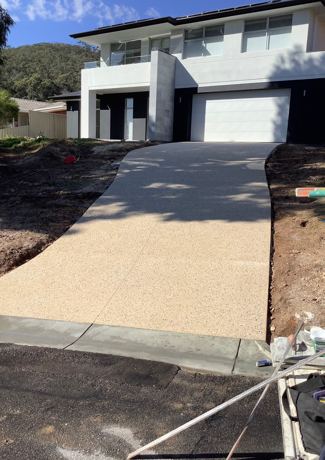 Steep Exposed Aggregate Driveway