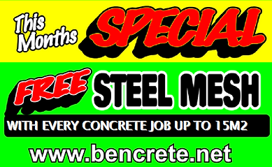 FREE STEEL MESH WITH CONCRETE JOB UP TO 15M2