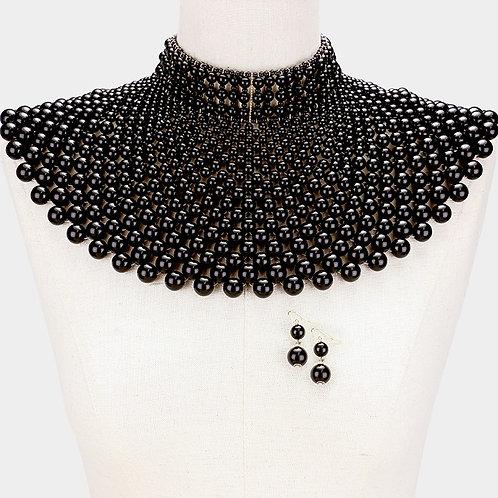 Color: Black, Gold Pearl Armor Bib Choker Necklace.