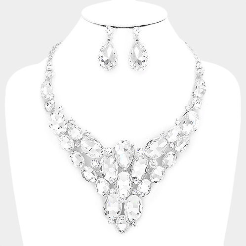Color: Clear, Silver Crystal Marquise Cluster Vine Evening Necklace.