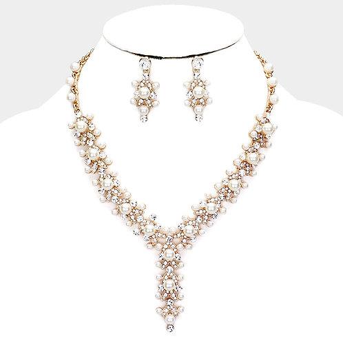Color: Cream, Gold Crystal Round Pearl Bubble Y Evening Necklace.