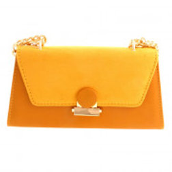 Yellow Suede leatherette evening bag.