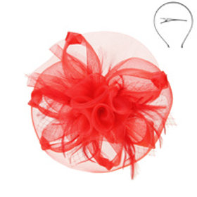 Color: Red Mesh Flower Feather Fascinator.