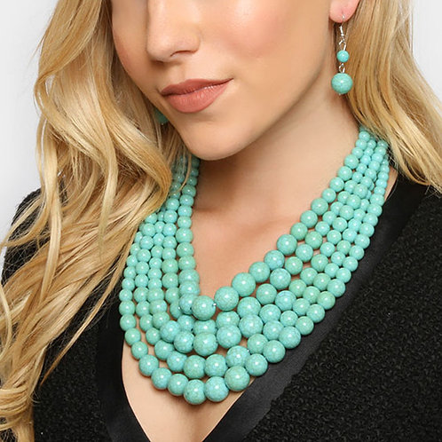 Color: Turquoise 5Row Strand Pearl Necklace.