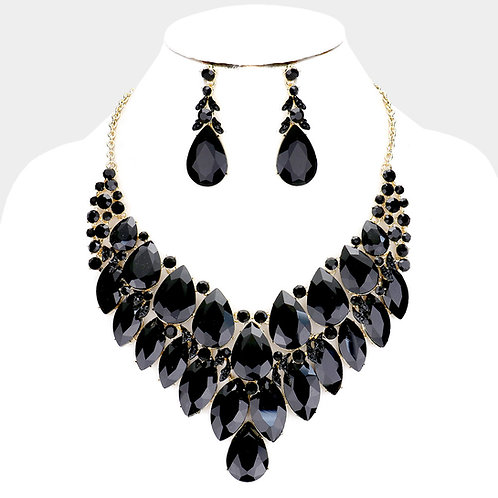 Color: Black, Gold Teardrop Crystal Bib Evening Necklace.
