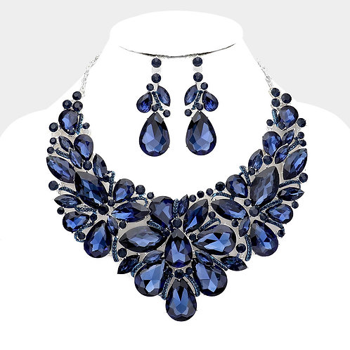 Color: Montana Blue, Silver, Teardrop Crystal Marquise Bib.