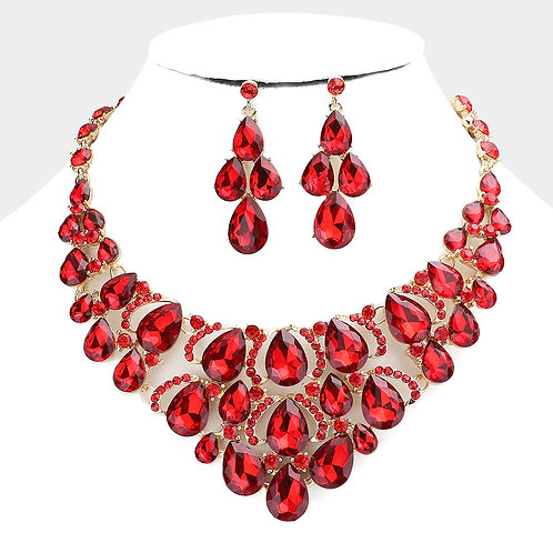 Color: Siam Teardrop Stone Cluster Evening Necklace.