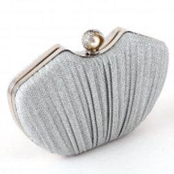Silver metal Glitter Evening Clutch Bag.