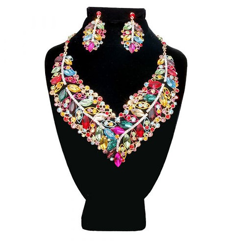 Color: Gold With Muilt Color Necklace.