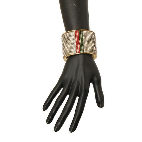 Color: Gold, Red & Green Striped Rhinestone Cuff Bracelet.