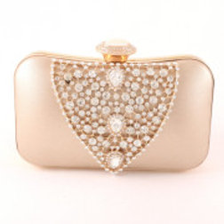 Leatherette Gold Clear Crystal Evening Bag.