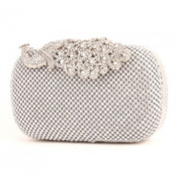 Rhinestone Peacock Silver Evening Bag