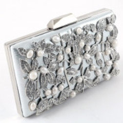 Silver Leatherette Rhinestone Pearl Evening Bag.