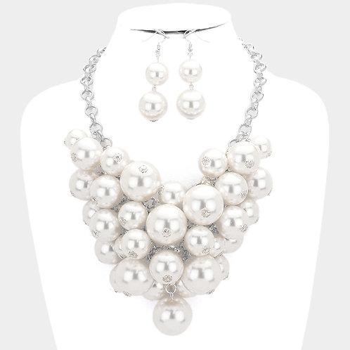 Color: White, Rhodium Pearl Cluster Vine Statement Necklace.