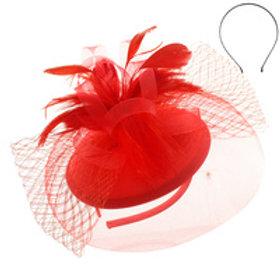 Color: Red Elegant Wedding Fascinator.