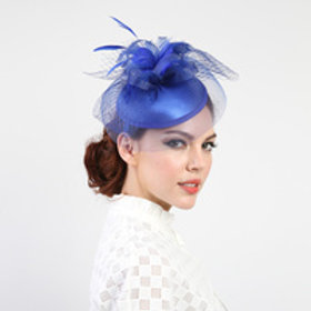 Color: Royal Blue Elegant Wedding Fascinator.