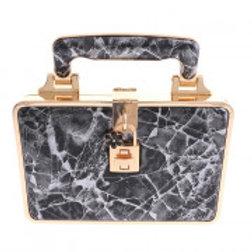 Gold Metal Frame Black Marble pattern Clutch Bag
