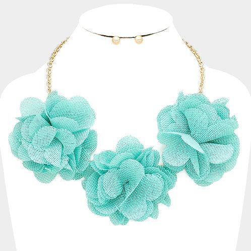Color: Gold, Mint Flower & Leaf Triple Floral Mesh Necklace.
