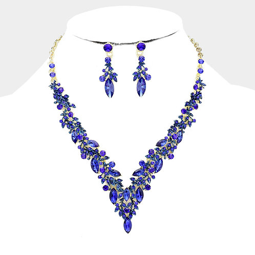 Color: Gold, Sapphire Marquise Crystal Cluster Vine Evening Necklace.