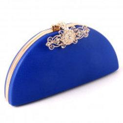 Blue Leatherette Evening Bag.