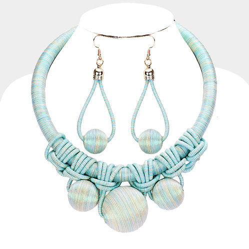 Color: Gold,Mint Shimmery Cord Braid Triple Ball Necklace.