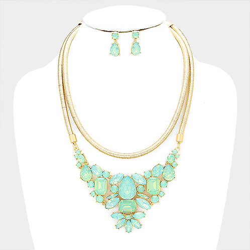 Color: Mint,Opal Double Layered Cord Bead Statement Bib Necklace.