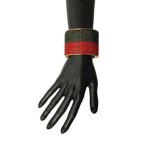 Color: Gold, Red & Black Rhinestone Cuff Braclet.