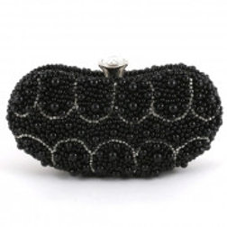 Black & Silver Pearl Evening Bag.
