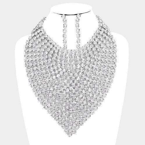 Color: Rhodium Crystal Rhinestone Bib Necklace.