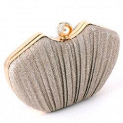 Gold Metal Glitter Evening Clutch Bag.