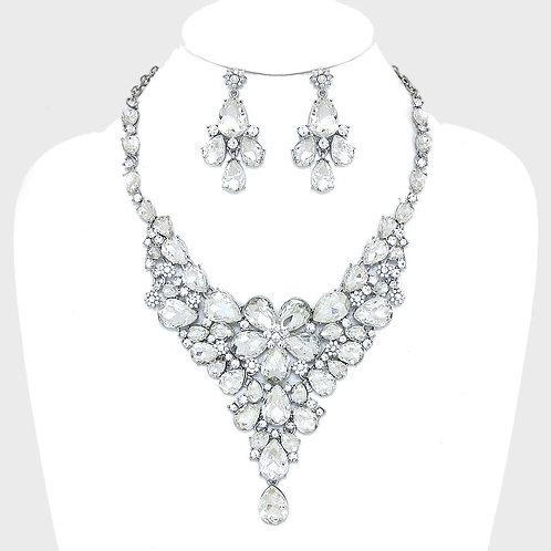 Color: Rhodium Clear, Floral Teardrop Crystal Rhinestone Evening Necklace.