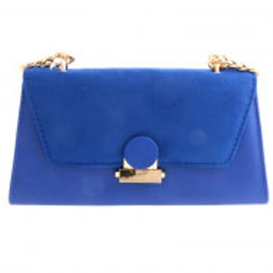 Blue Suede Leatherette Evening Bag.