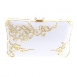 Gold & White Leatherette Clutch Bag.
