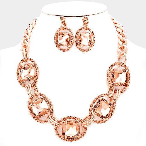 Color: Rose, Gold Pave Trim Glass Crystal Link Necklace.