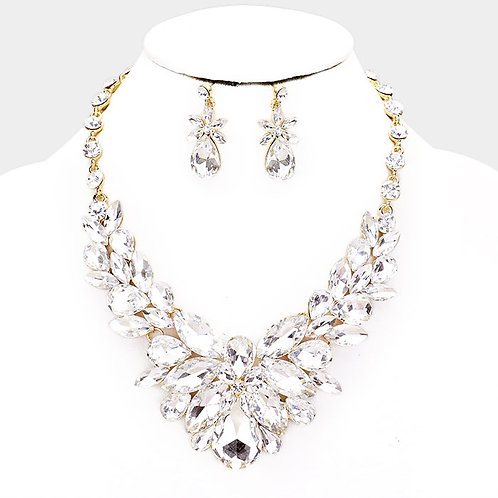 Color: Clear, Gold Crystal Oval Vine Cluster Evening Necklace.