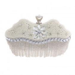 Silver Rhinestone Bead Evening Bag.