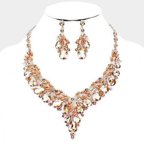 Color: Peach, Rose Gold Pearl,  Teardrop Crystal Pearl Evening Necklace.