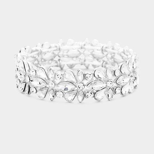 Color: Clear, Silver Stretchable Floral Crystal Evening Bracelet.