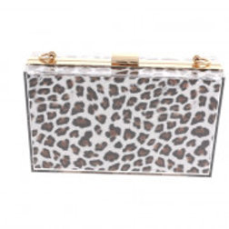 Clear White & Brown Leopard Pattern Evening Bag.