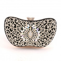 Black Rhinestone Peacock Evening Bag.