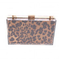 Clear & Brown Leopard Pattern Evening Bag.